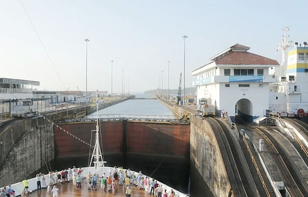 Moving through the Panama Canal locks. Photo by Captain Mercer.