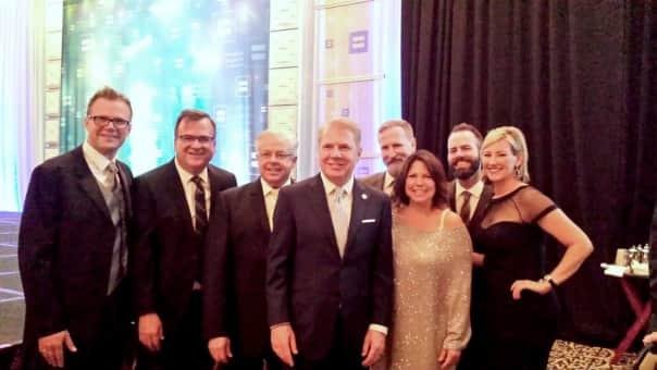 Holland America Line employees from left: John Peijs, director, marine hotel operations; Greg Crick, director, planning and administration account group services; Gerald Bernhoft, director, Mariner Society marketing; Seattle Mayor Ed Murray; Steve Kennevan; Michele Peijs, senior manager, career roadmap human resources; DJ Baker, manager, creative services marketing; and Pamela Baade, manager, corporate giving.