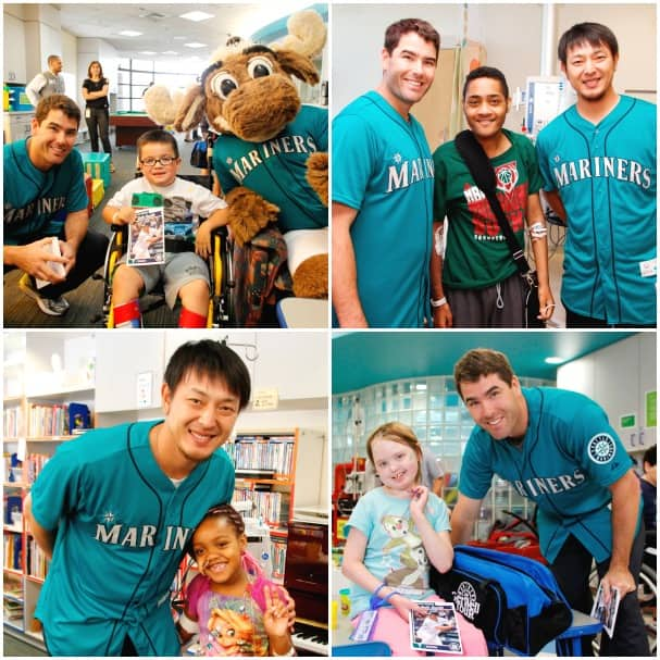 Team members of the Seattle Mariners visiting children in the hospital.
