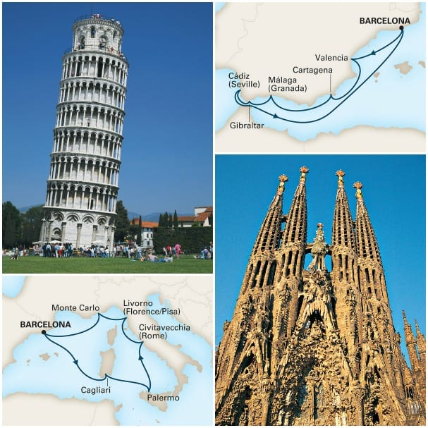 The Gems of Spain, top right, and Mediterranean Glamour itineraries are great additions to Eurodam's roster.