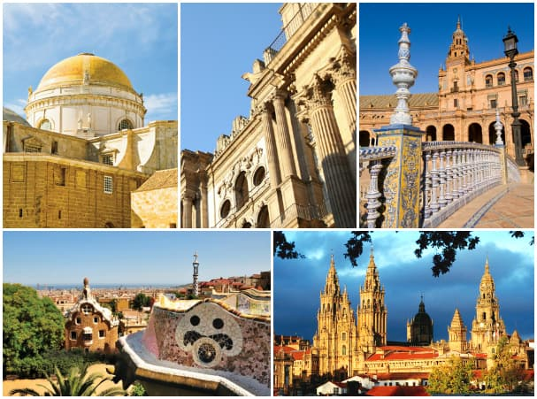 Guests can get an in-depth look into Spain during the Mediterranean & Christening Cruise. (Top: Cadiz, Malaga and Seville. Bottom: Barcelona and Vigo.)
