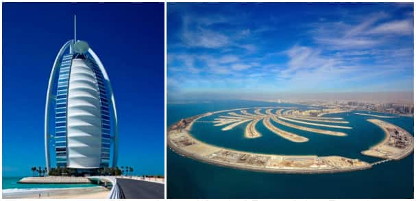 Left: Burj Al Arab. Right: Palm Jumeirah.