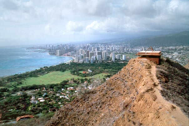 The view is the prize at the end of the tunnel at Diamond Head Crater!