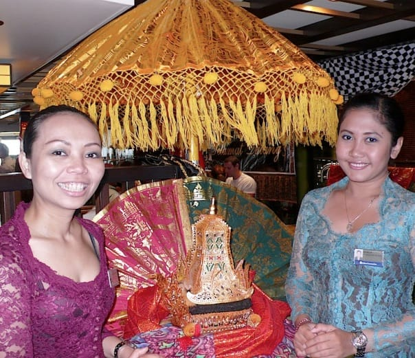 Eurodam crew members wear traditional dress for an Indonesian tea ceremony. Photo by Jackie Sheckler Finch.