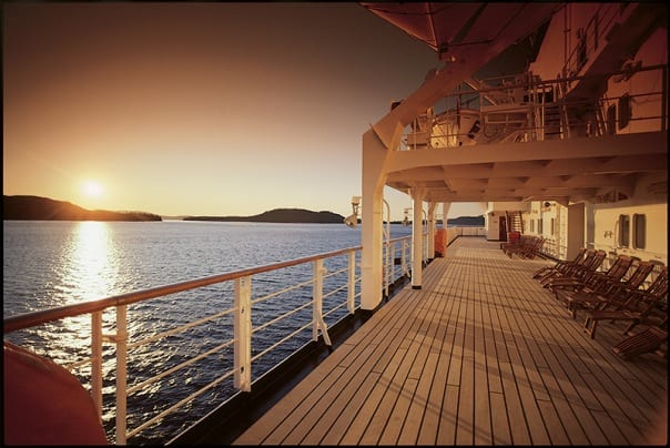 Catch the sunrise on the promenade deck of your Holland America ship to kickstart the perfect day.