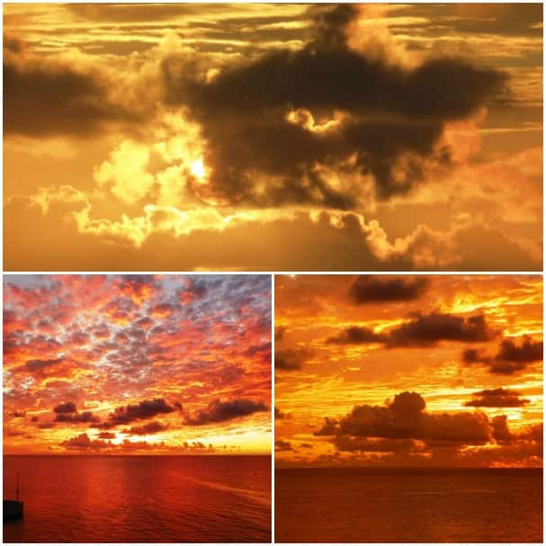 Gorgeous sunsets at sea taken by guests Neva Franks, top, and Mitzi Ellis.