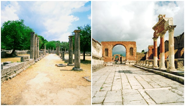 Step back in time when visiting Olympia and Pompeii.