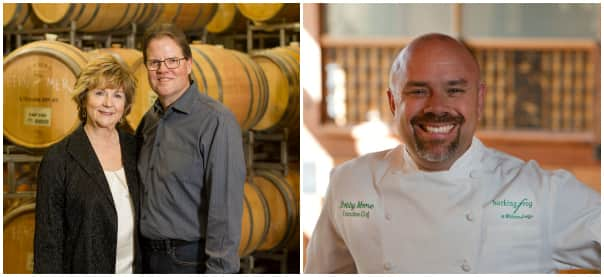 Left: Winemakers Megan and Marty Clubb. Right: Chef Bobby Moore.
