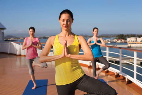 A private yoga class on deck is the perfect activity for a wellness-themed cruise.