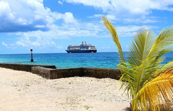 Amsterdam anchored Rangiroa in the South Pacific. Photo by Captain Mercer.