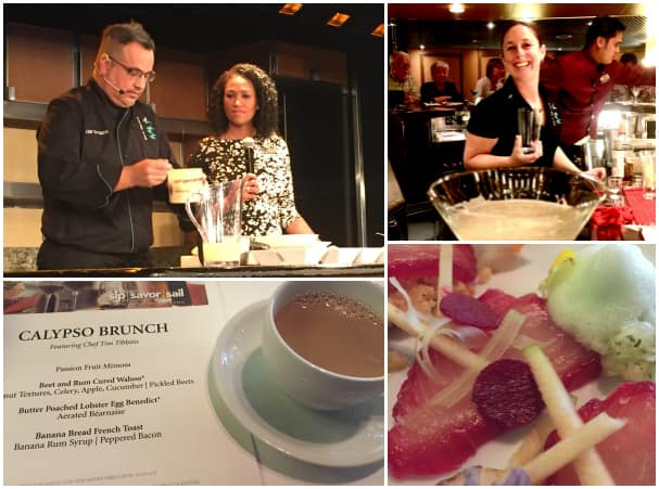 Top left: Chef Tim Tibbitts makes a Caribbean-style dish with help from Oosterdam's Culinary Arts Center host. Top right: Rebecca hosts a mixology class. Bottom: Beet and Rum Cured Wahoo was the first dish on Tim's Calypso Brunch menu.