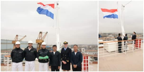 The ship flew the Italian flag while at the yard, and now it's flying the Dutch colors.