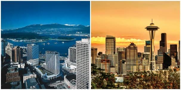 Vancouver, left, and Seattle are two wonderful homeports on the Pacific coastal cruises.