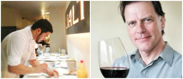 Left: Chef Lionel Uddipa hard at work at SALT. Right: Paul Gregutt (photo credit: winefetch.com)