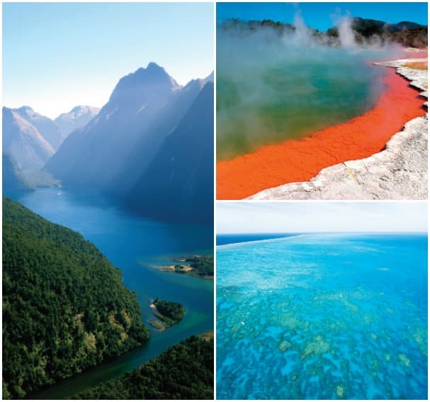 Clockwise from left: Fiordland National Park, Tauranga and the Great Barrier Reef make these cruises all the more memorable.