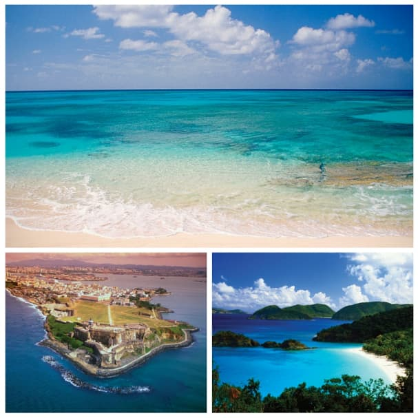 The eastern Caribbean is filled of hues of blue.