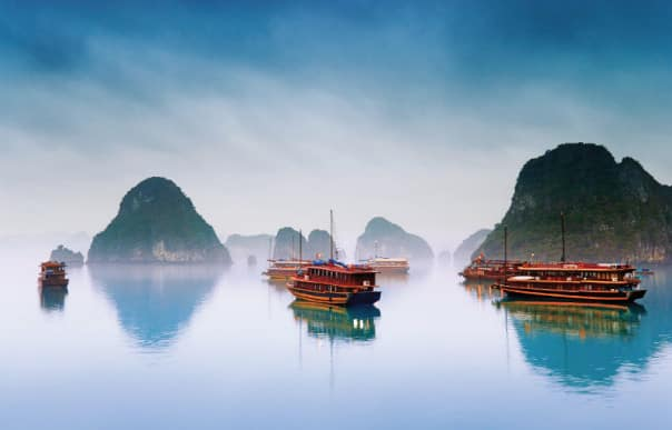 Exotic Halong Bay, Vietnam, is a highlight of the 14-Day Far East Explorer cruise.