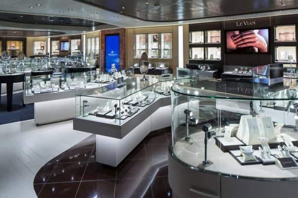 The jewelry and watch shops onboard have a wide selection of beautiful pieces.