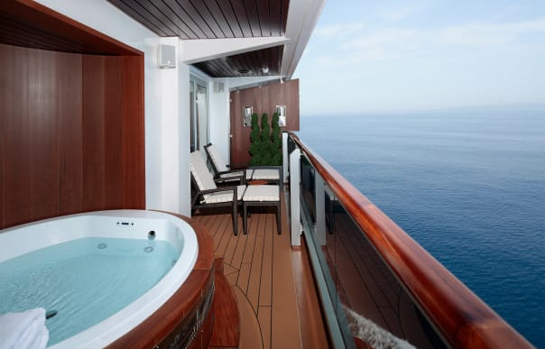 The incredible balcony of the Pinnacle Suite is a private haven.