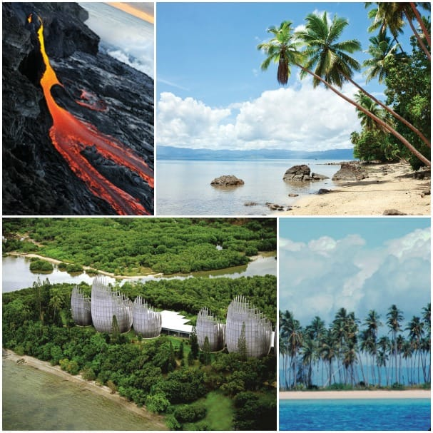 The flowing lava of Hawaii's volcanoes, Vanutau's cultural center and palm-lined beaches of the South Pacific.