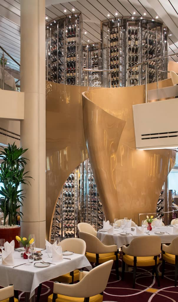 Guests wanting wine with dinner in the main dining room can select from the impressive tower.