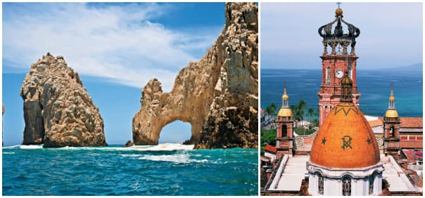 Explore Cabo's inviting waters and Puerto Vallarta's beautiful churches in Mexico.