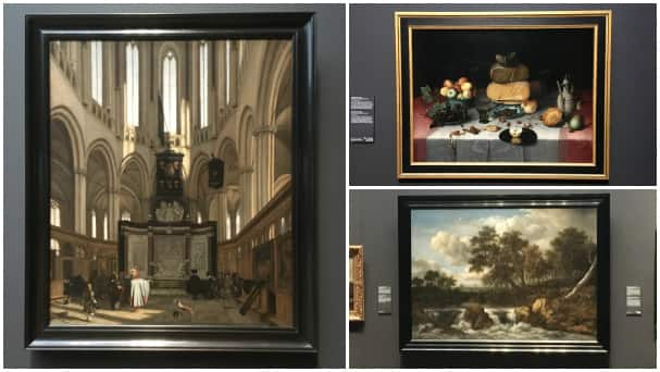 Left: The Tomb of Michiel de Ruter in the Nieuwe Kerk, Amsterdam by Emanuel de Witte (1683). Top right: Still Life with Cheese by Floris Claesz van Dijck (1615). Bottom right: The Wardens of the Amsterdam Drapers' Guild, known as 'The Syndics' by Rembrandt Harmensz van Rijn (1662)