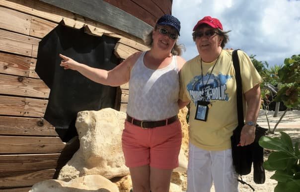 At Half Moon Cay, Julie, left, and Jan found a geocache hidden in the pirate shipwreck.
