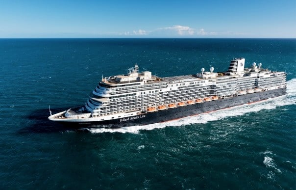 Koningsdam going into the open ocean during its sea trials.