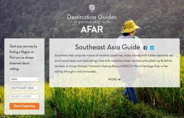 Holland America Line partnered with AFAR Media to provide comprehensive and customizable destination guides for guests.