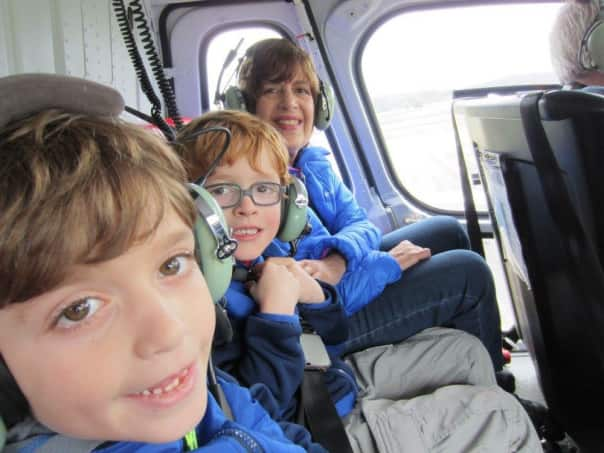 Ready to take off with two of my grandsons. All six of us went in one helicopter.