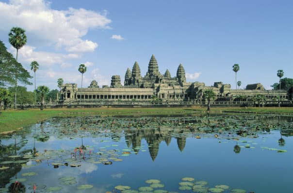 The glorious Angkor Wat awaits from the port of
