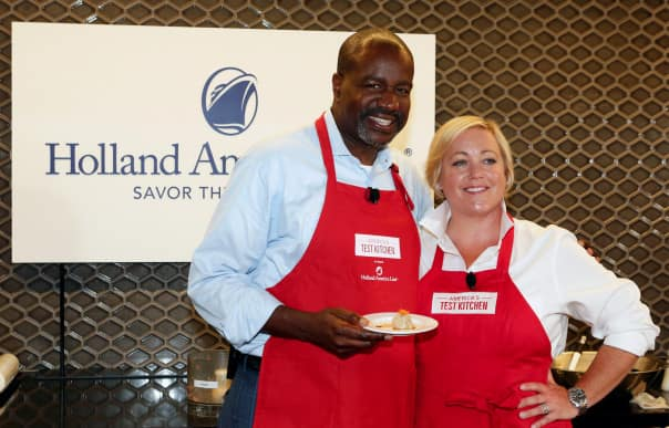 During the media event Holland America Line President Orlando Ashford made shu mai with America's Test Kitchen Host Julia Collin Davison.