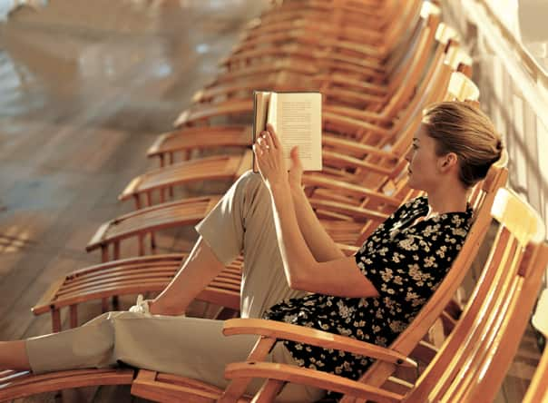 Take time to catch up on a good book during the days at sea.