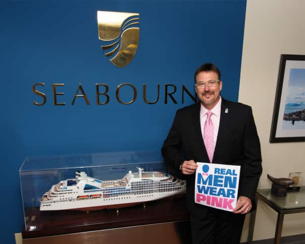 Seabourn President Richard D. Meadows is wearing pink in support of breast cancer.