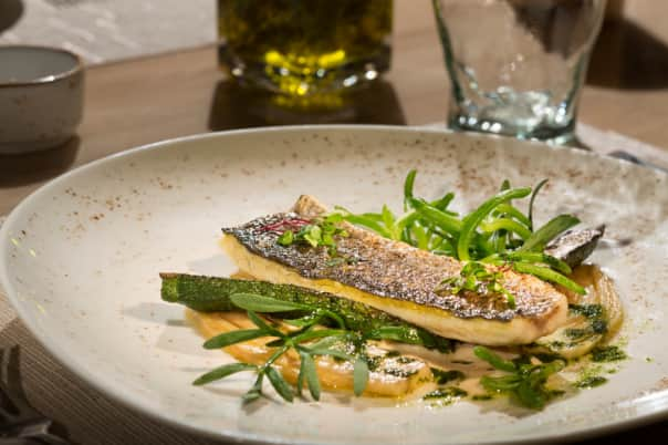 The other menu features a Vacuum Poached Seabass and Fennel Confit.
