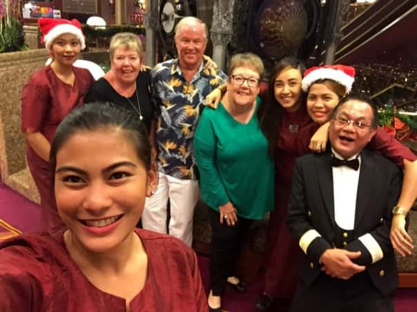 Jeff Farschman celebrating Christmas onboard this year with friends and staff.