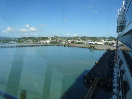Puerto Limon as seen from starboard bridge wing. The country is low and flat, except for the middle part where there are high mountains.
