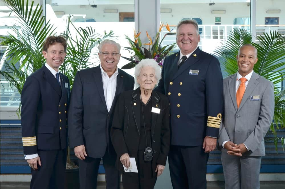 From left: Hotel Director Henk Mensink, Director Mariner Society Gerald Bernhoft, a President's Club Mariner, Captain Fred Eversen and Cruise Director Hamish Davis.