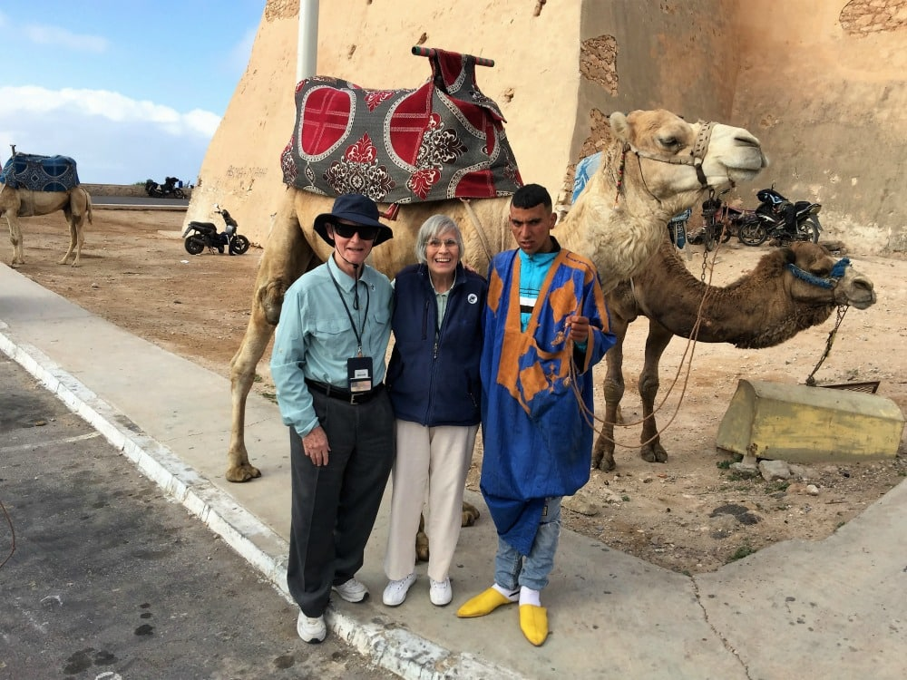 In Morocco at Ouella Fort with their guide Hassan.