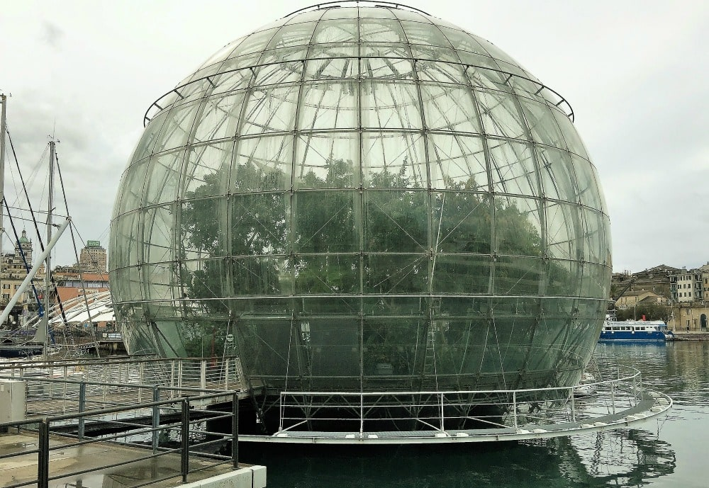 The Genoa Biosphere, a glass dome more than 65 feet in diameter.