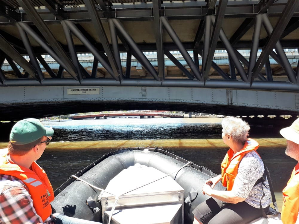 Guests enjoying the some of the lower lying bridges on the Yarra River. Spencer Street Bridge, Melbourne.
