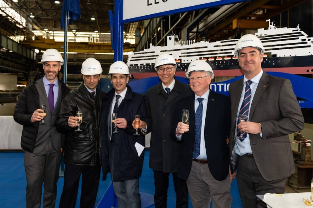 Holland America Line and Fincantieri Execs at the steel cutting