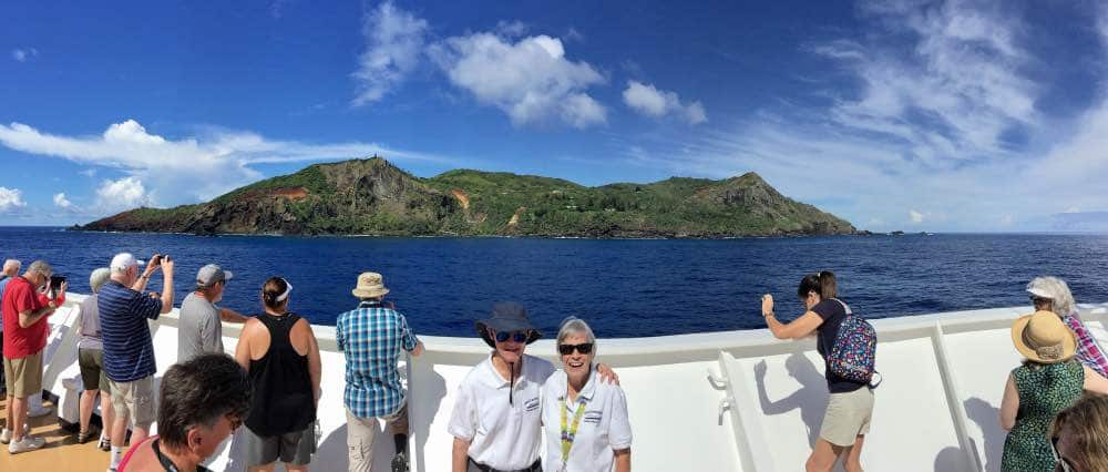 Pitcairn Island from the bow of the MS Amsterdam H & G