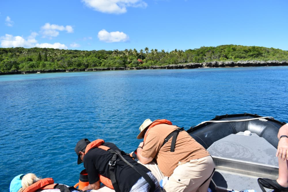 Guests using the viewing cones to observe the coral reefs of Tadine