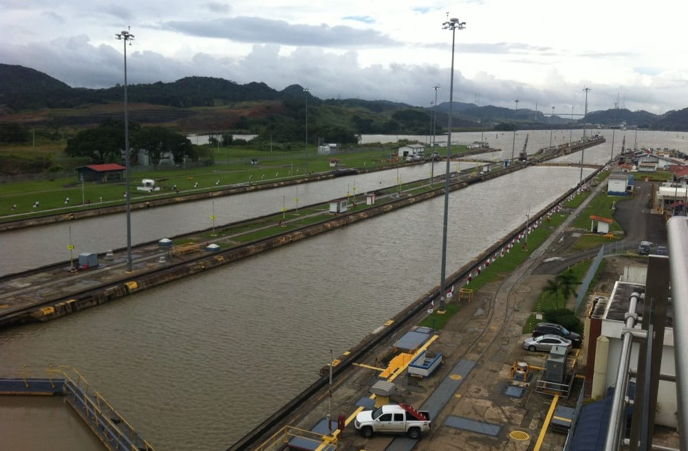A view of the locks from the Miraflores Visitor Center.
