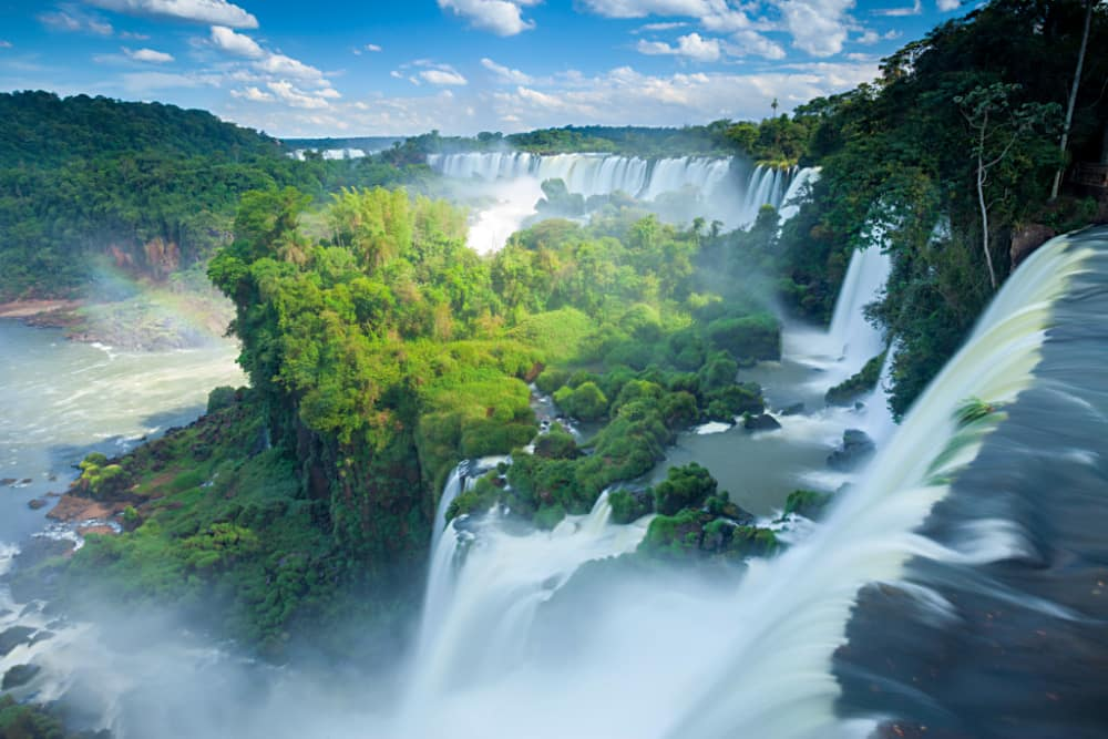 The massive Igauzu Falls sits on the border of Argentina and Brazil.