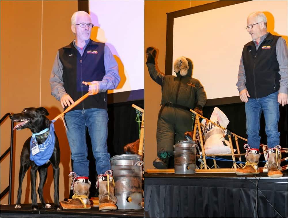 Ididarod champion Jeff King with his sled dog Ziggy and his presentation on the race.