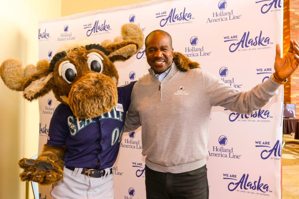 Holland America Line President Orlando Ashford and the Mariner Moose.