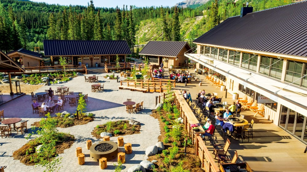 Denali Square is a great gathering area at the McKinley Chalet Resort.